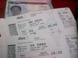 Tiket Jakarta-Tokyo-Honolulu dan visa AS untuk kali kedua. Lancarkan semua, ya Tuhan.