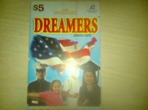Dreamers Phone Card. Harganya 5 dolar, bisa berbusa-busa di telepon.