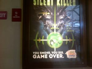 Iklan layanan mencegah perokok pemula. Ditempatkan di mall.