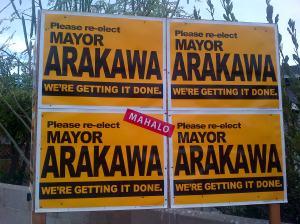Kampanye permintaan dukungan Alan Arakawa. Minta dipilih lagi sebagai walikota Kihei, Maui.