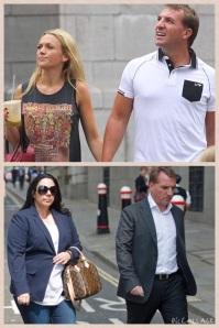 Brendan Rodgers bersama isteri muda (atas) dan isteri tua yang ditinggalkannya. Tulah dan tuah?