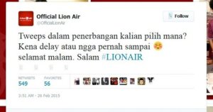 Twit bermasalah dari yang mengaku manajemen Lion Air. Dibantah dan dibawa ke ranah hukum.