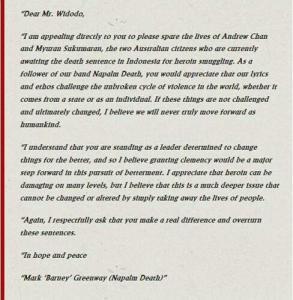 Surat menolak hukuman mati dari Mark 'Barney' Greenway, personel Napalm Death. Untuk Jokowi, sang penggear musik rock.