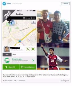 Legenda sepakbola Singapura melayani taksi panggilan. Profesi baru.